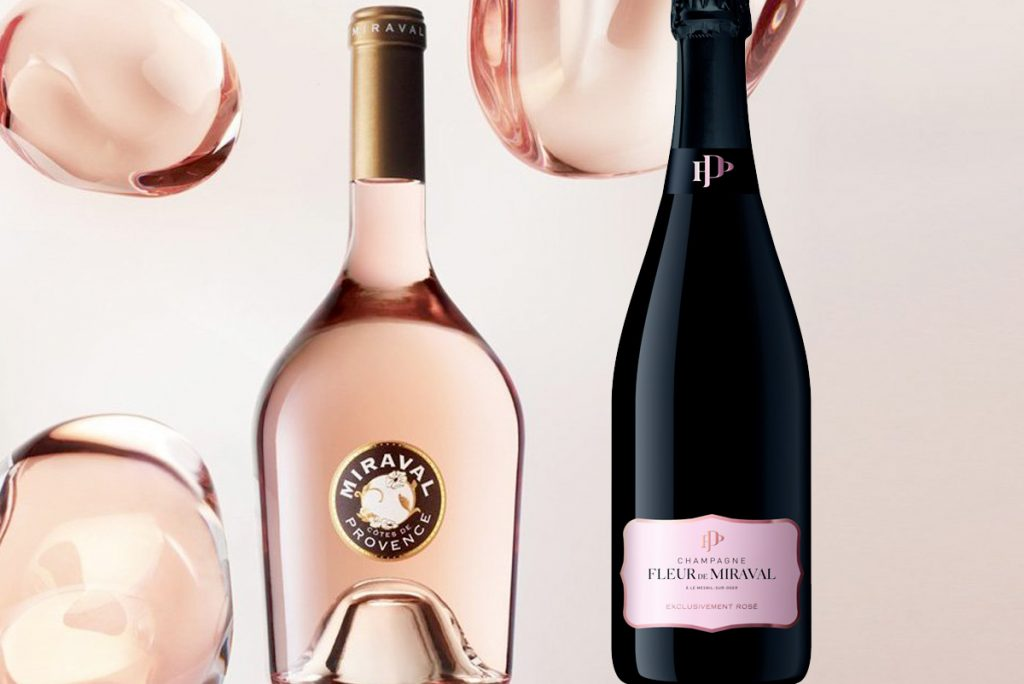 the bottles of Miraval and Fleur de Miraval Champagne